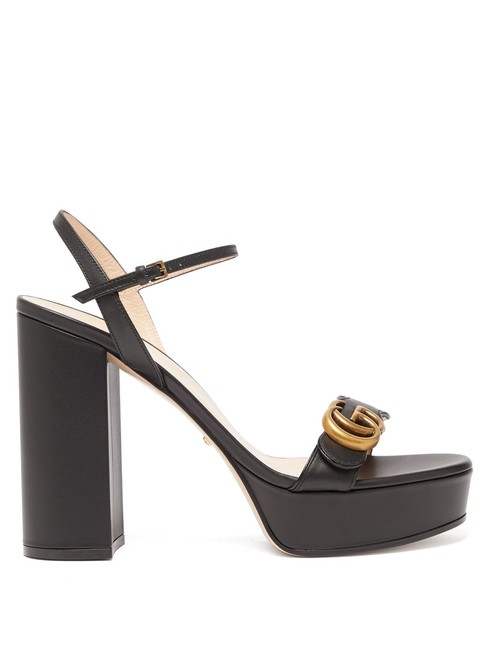 Item - Black Marmont Mf Gg Leather Platform Sandals Size EU 39.5 (Approx. US 9.5) Regular (M, B)