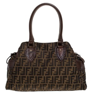 Fendi Fabric Canvas Satchel in Brown