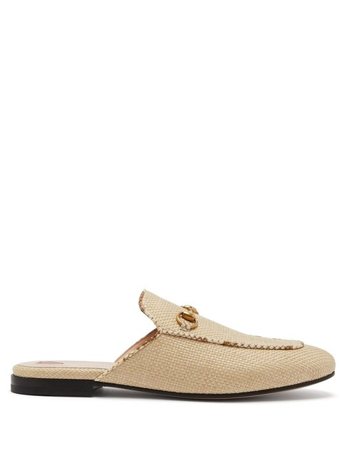 Item - Beige Mf Princetown Raffia and Leather Backless Loafers Slippers Flats Size EU 36 (Approx. US 6) Regular (M, B)