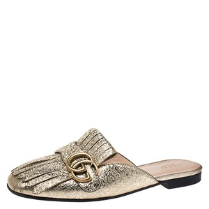 Gucci Leather Mules Gold Flats