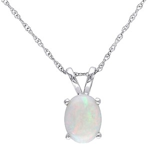 Other 10k White Gold Oval Opal Pendant Necklace With Chain