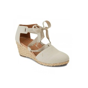 Vionic Kaitlyn Espadrille Canvas Strappy Beige Wedges