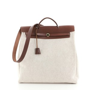 Hermes Canvas Leather Tote in Brown, Neutral
