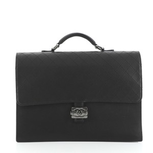 Chanel Briefcase Leather Tote in black