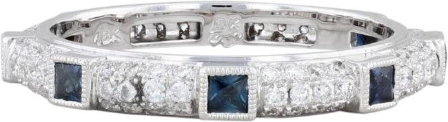 Item - White Gold New Diamond Sapphire Eternity 18k Stackable Band Sz6.5 Ring