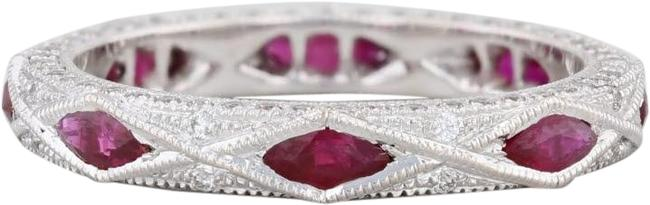 Item - White Gold New 1.18ctw Ruby Diamond Stackable 18k Size 6 Band Ring