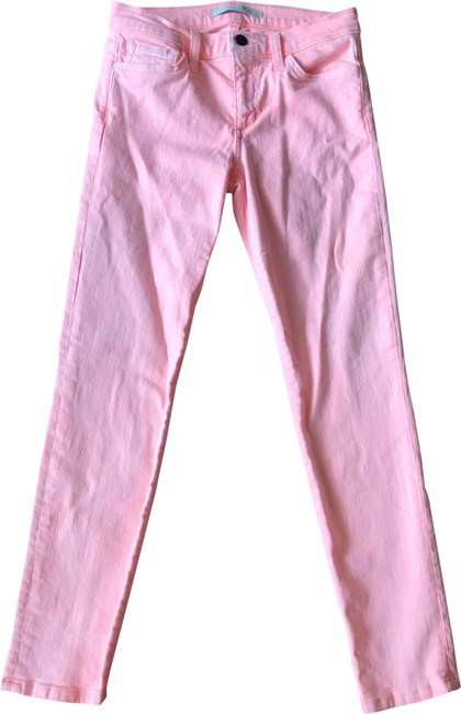 Item - Faded Neon Coral Light Wash Ankle Straight Leg Jeans Size 4 (S, 27)