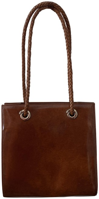 Item - Panthere Silver Stone Hardware Doub Brown Leather Shoulder Bag