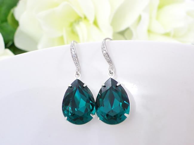 Item - Zircon Blue Dark Teal Teardrop Bridesmaid Gift Crystal Earrings