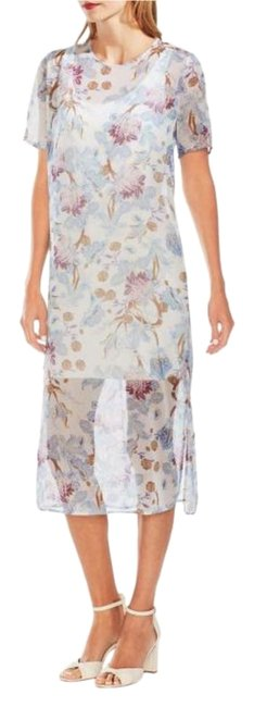 Item - Blue Poetic Blooms Sheer Overlay Mid-length Short Casual Dress Size 12 (L)