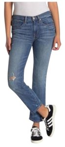 Frye Distressed Cropped Mid Rise Zipper Boot Cut Jeans-Distressed