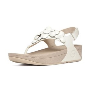 FitFlop Floral Leather Vintage Urban White Sandals