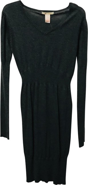 Item - Gray Ribbed Long Sleeve Sweater Mid-length Work/Office Dress Size 8 (M)