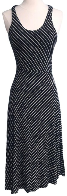 Item - Blue Beige Navy Asymmetrical Hem Striped Tank Mid-length Short Casual Dress Size Petite 2 (XS)