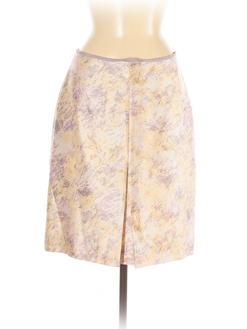 Item - Lavender/Peach Watercolor Print Wool Sateen Skirt Size 6 (S, 28)