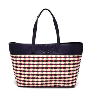 Tory Burch Straw Multi Handles Soft Tote in navy red
