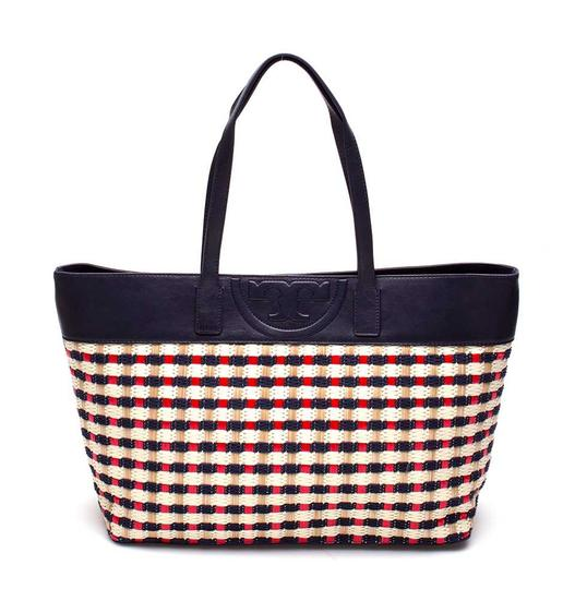 Preload https://img-static.tradesy.com/item/27400707/tory-burch-soft-multi-color-and-leather-navy-red-straw-tote-0-0-540-540.jpg