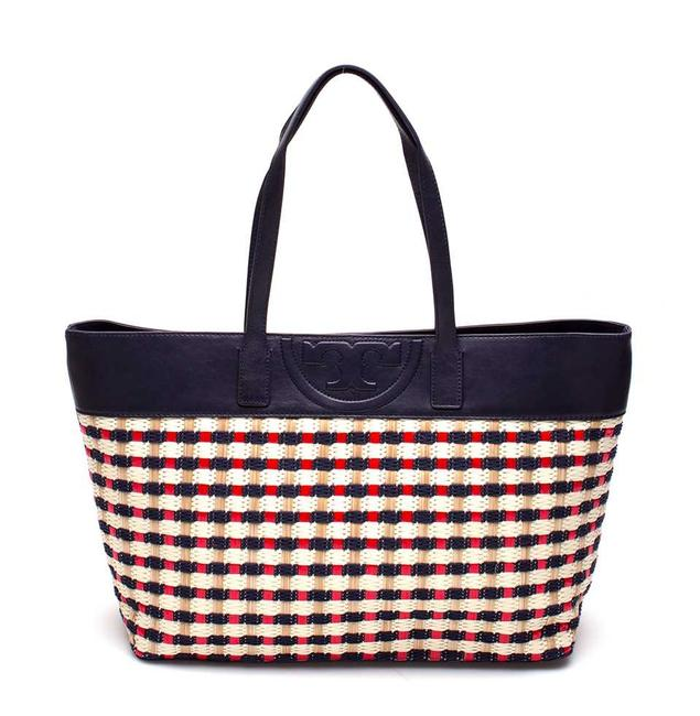Tory Burch Soft Multi-color and Leather Navy Red Straw Tote Tory Burch Soft Multi-color and Leather Navy Red Straw Tote Image 1