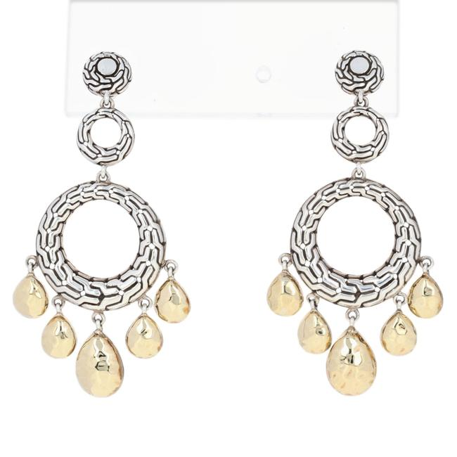 Item - Silver/Yellow New Classic Chain Hammered Circle Sterling Earrings