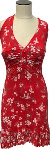 Lipsy short dress Red V-neck Sleeveless Floral European on Tradesy