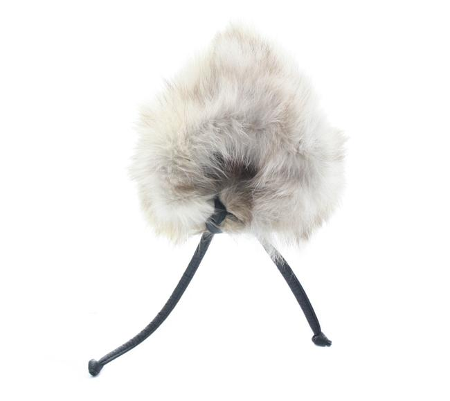 Item - Light Brown Fox Fur with Leather Tie Hat