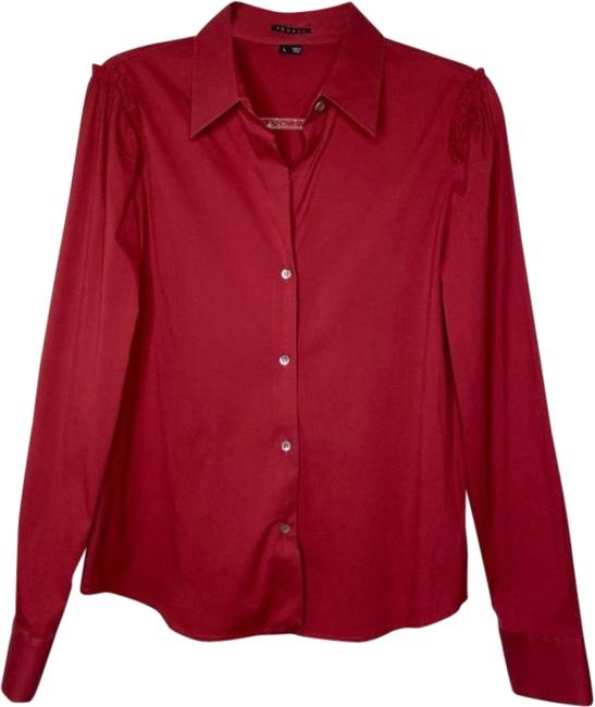 Item - Red Wine Deana Frill Shirt Button-down Top Size 12 (L)