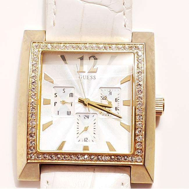 Item - White Multifunction Silver Dial Gold Tone Quartz Leather Strap Watch