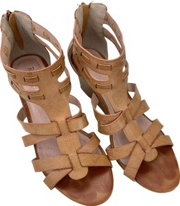 Restricted Open Toe Wedges Cognac Sandals
