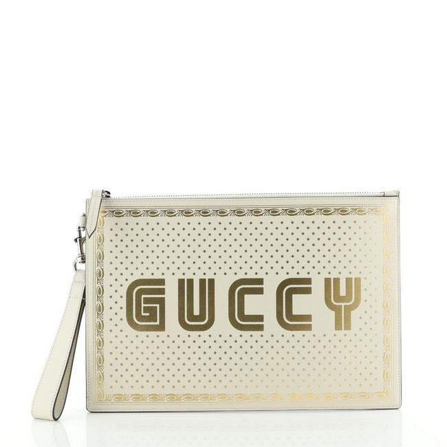 Item - Clutch Limited Edition Printed Gold Print White Leather Wristlet