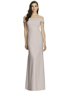Dessy Taupe Crepe 2987 Modern Bridesmaid/Mob Dress Size 4 (S)