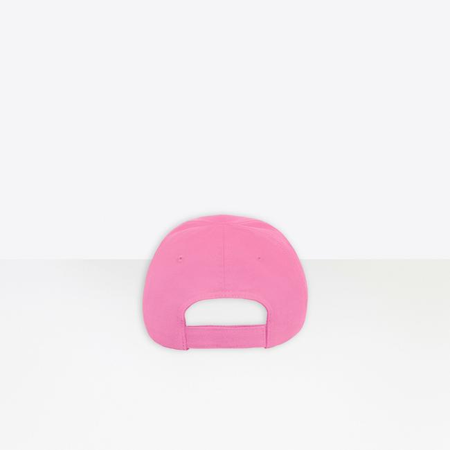 Balenciaga Pink Unisex Classic Logo Cap In and Black Embroidered Cotton Hat Balenciaga Pink Unisex Classic Logo Cap In and Black Embroidered Cotton Hat Image 3