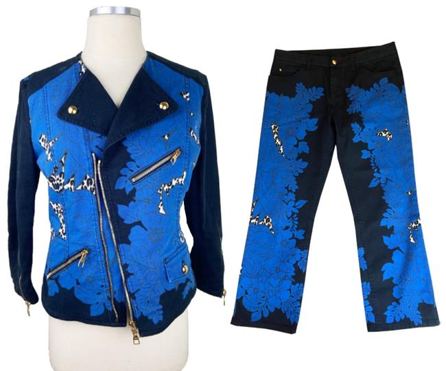 Item - Blue Black Leopard Floral and Jeans Jacket Size 8 (M)