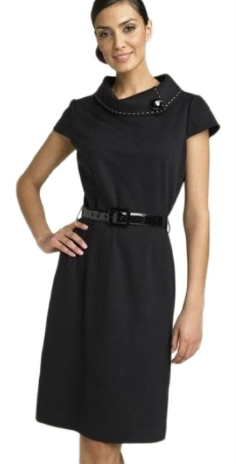 Item - Black Rolled Fold Over Collar Mid-length Work/Office Dress Size Petite 6 (S)