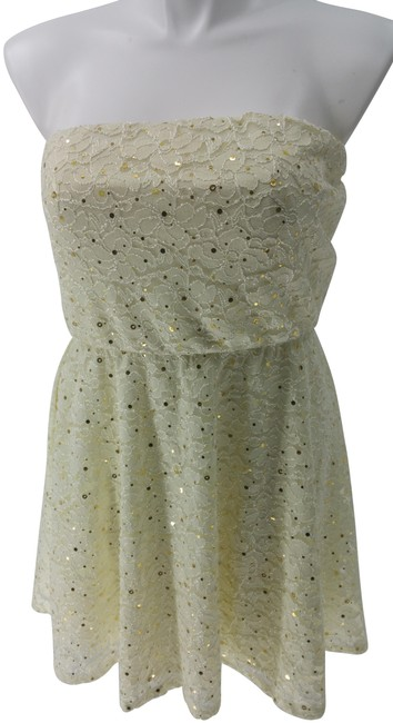 Item - Ivory As U Wish Straples Gold Sequin Lace Tube Elastic Wt Short Casual Dress Size 18 (XL, Plus 0x)