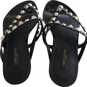 Louis Vuitton Studded Gold Hardware Silver Hardware Black Sandals
