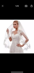Short White Or Ivory Lace Appliqué Two Layers 2t Bridal Veil