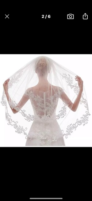 Item - Short White Or Ivory Lace Appliqué Two Layers 2t Bridal Veil
