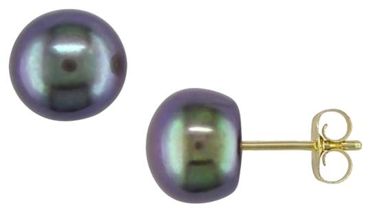 Other 10k Yellow Gold 7-7.5mm Black Pearl Stud Earrings