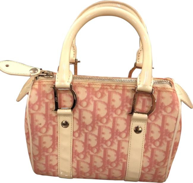 Item - Monogrammed Pink and White Canvas Satchel