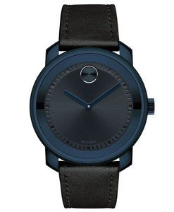 Movado Leather Strap Blue Dial Mens 3600408