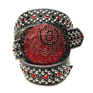 B.B. Simon B.B. Simon 8 Ball Black & Red Swarovski Crystal Belt