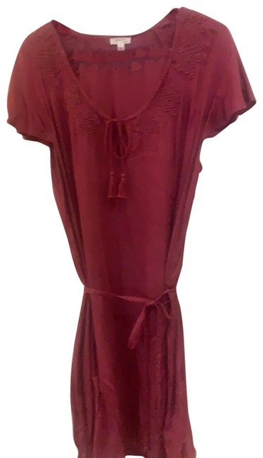 Item - Red Embroidered with Tasseled Tie Neck and The Belt Short Casual Dress Size 12 (L)