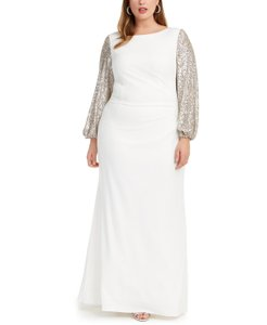 Adrianna Papell Ivory/Silver Sequin-sleeve Gown Ivory/Silver Formal Bridesmaid/Mob Dress Size 18 (XL, Plus 0x)