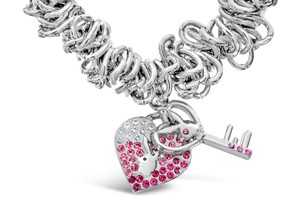 Playboy Playboy Bracelet Heart Lock and Key Charms Pink Swarovski Crystal