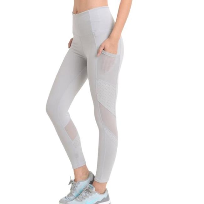 Item - Light Gray M Yoga Pants Pockets High Waist Tummy Control 004 Activewear Bottoms Size 8 (M, 29, 30)