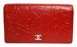 Chanel CHANEL Camellia Long Fold Wallet Rouge A36544 Ladies Chanel