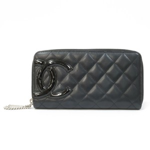 Chanel Chanel Wallet Logo Pink Cambon Leather Black Ladies Men's