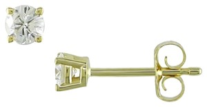 14k Yellow Gold Diamond Solitaire Square Geometric Stud Earrings 0.25 Ct