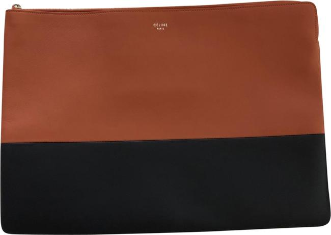 Item - Bicolor Solo Large 'solo' Brown and Navy Lambskin Leather Clutch