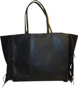 Victoria's Secret Faux Leather Fringed X Large Onm002 Tote in black